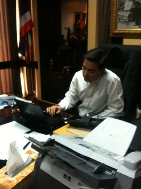 Thai PM Abhisit in his office on Apr 10